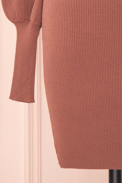 Janick Pink Ribbed Turtleneck Fitted Dress | Boutique 1861 bottom