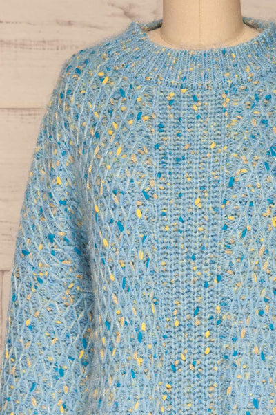 Janowiec Bleu Light Blue Oversized Knit Sweater | La Petite Garçonne front close-up