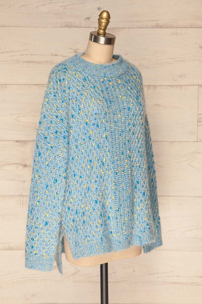 Janowiec Bleu Light Blue Oversized Knit Sweater | La Petite Garçonne side view