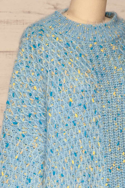 Janowiec Bleu Light Blue Oversized Knit Sweater | La Petite Garçonne side close-up