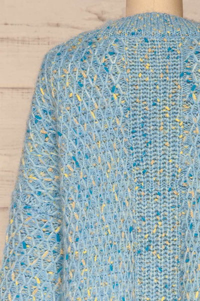 Janowiec Bleu Light Blue Oversized Knit Sweater | La Petite Garçonne back close-up