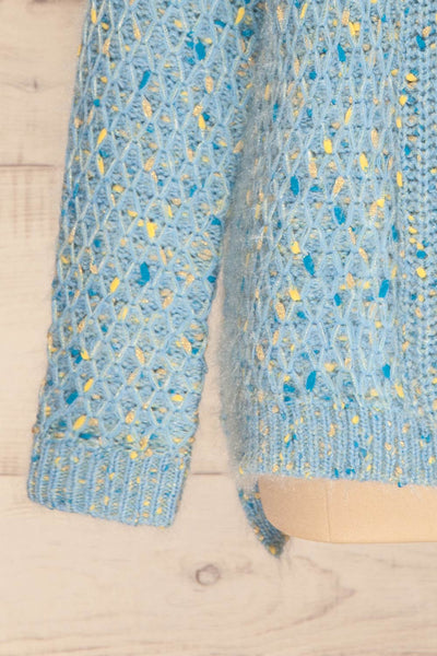 Janowiec Bleu Light Blue Oversized Knit Sweater | La Petite Garçonne bottom close-up