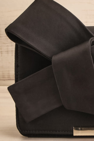 Janyce Black Satin Knotted Bow Clutch | Boutique 1861 close-up