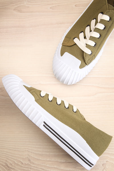 Jappy Green Canvas Lace-Up Sneakers | La petite garçonne flat view
