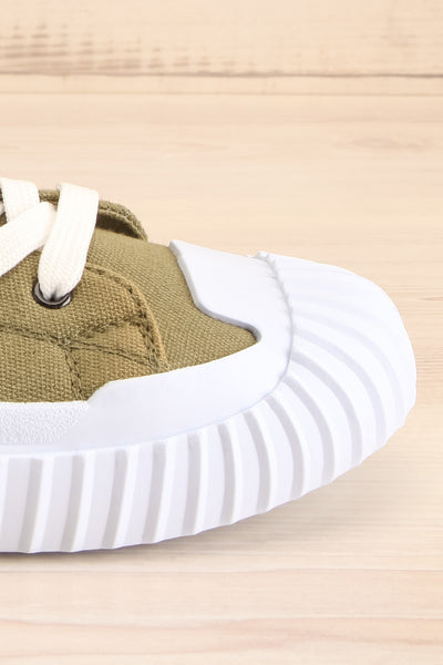 Jappy Green Canvas Lace-Up Sneakers | La petite garçonne side close-up