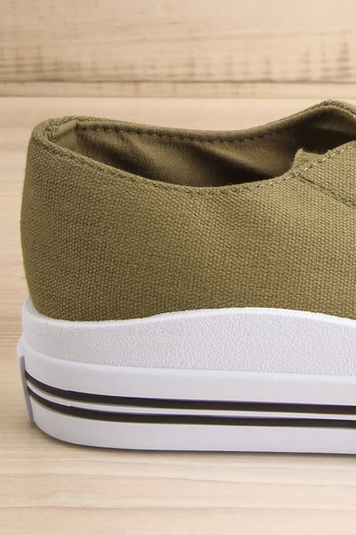Jappy Green Canvas Lace-Up Sneakers | La petite garçonne side back close-up