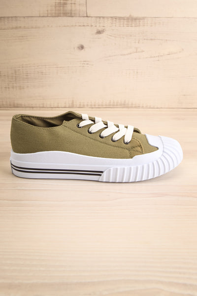 Jappy Green Canvas Lace-Up Sneakers | La petite garçonne side view