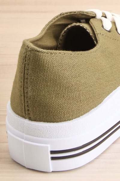 Jappy Green Canvas Lace-Up Sneakers | La petite garçonne back close-up