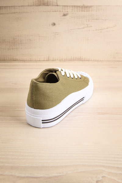 Jappy Green Canvas Lace-Up Sneakers | La petite garçonne back view