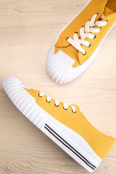 Jappy Mustard Canvas Lace-Up Sneakers | La petite garçonne flat view
