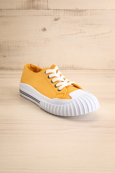 Jappy Mustard Canvas Lace-Up Sneakers | La petite garçonne front view