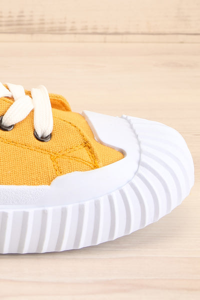 Jappy Mustard Canvas Lace-Up Sneakers | La petite garçonne side close-up