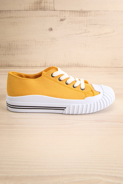 Jappy Mustard Canvas Lace-Up Sneakers | La petite garçonne side view