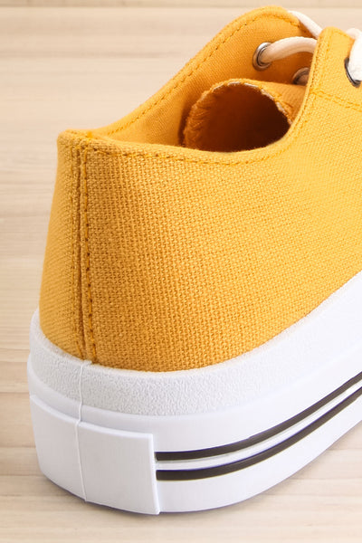 Jappy Mustard Canvas Lace-Up Sneakers | La petite garçonne back close-up