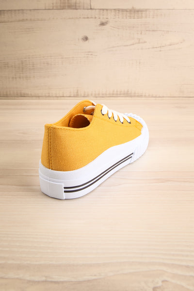 Jappy Mustard Canvas Lace-Up Sneakers | La petite garçonne back view