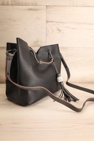 Jasmine Black Faux-Leather Pixie Mood Tote Bag side view | La Petite Garçonne