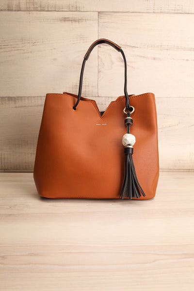 Jasmine Cognac Faux-Leather Pixie Mood Tote Bag front view | La Petite Garçonne