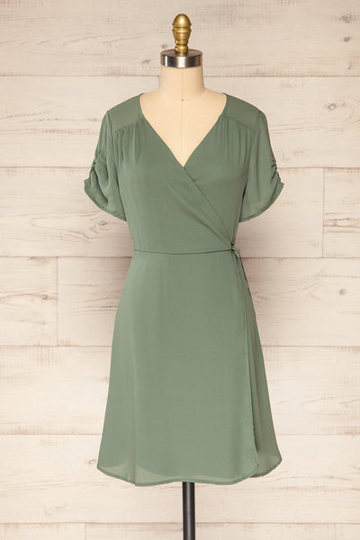 Jaurel Sage Short Sleeve Wrap Dress | La petite garçonne front view