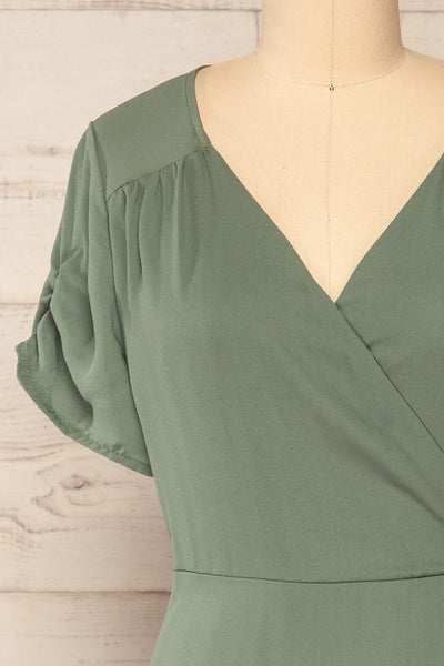 Jaurel Sage Short Sleeve Wrap Dress | La petite garçonne front close-up