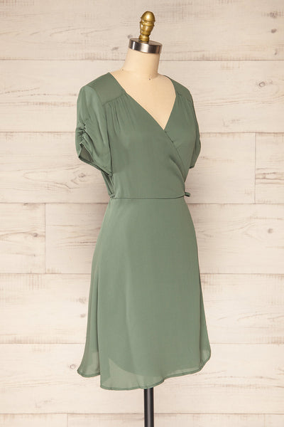 Jaurel Sage Short Sleeve Wrap Dress | La petite garçonne side view