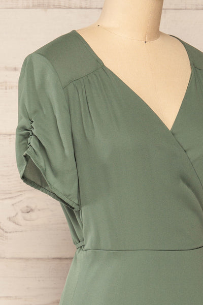 Jaurel Sage Short Sleeve Wrap Dress | La petite garçonne side close-up