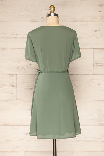 Jaurel Sage Short Sleeve Wrap Dress | La petite garçonne back view