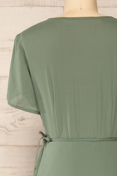 Jaurel Sage Short Sleeve Wrap Dress | La petite garçonne back close-up