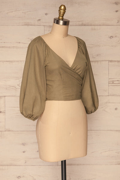 Jawor Khaki Knotted Crop Top | La petite garçonne side view