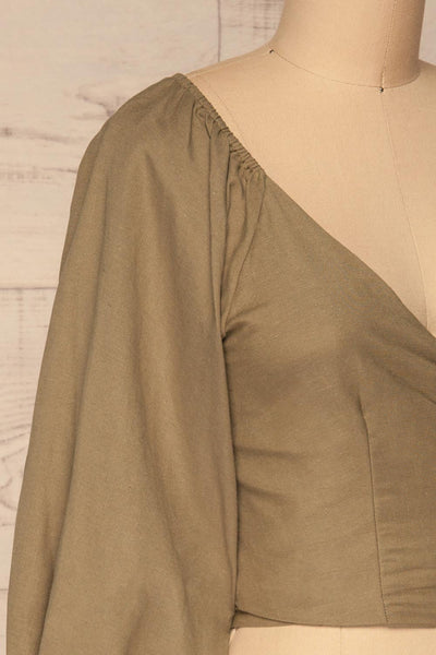 Jawor Khaki Knotted Crop Top | La petite garçonne side close-up