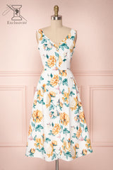 Jazmina White & Yellow Floral Button-Up A-Line Dress | Boutique 1861