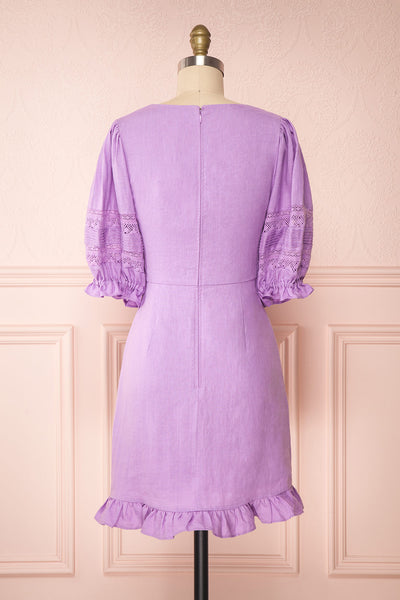 Jeneva Lilac Short Dress w/ Ruffles | Boutique 1861 back view