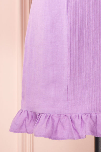 Jeneva Lilac Short Dress w/ Ruffles | Boutique 1861 bottom close-up