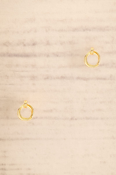 Jete Gold Circle Stud Earrings | La petite garçonne close-up