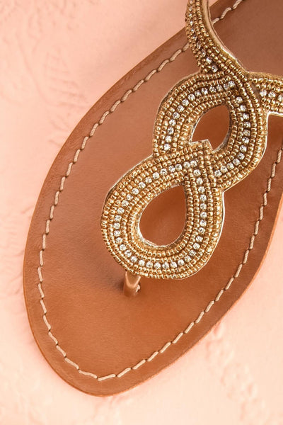 Jinotega Golden Beaded Slip-on Sandals | Boutique 1861