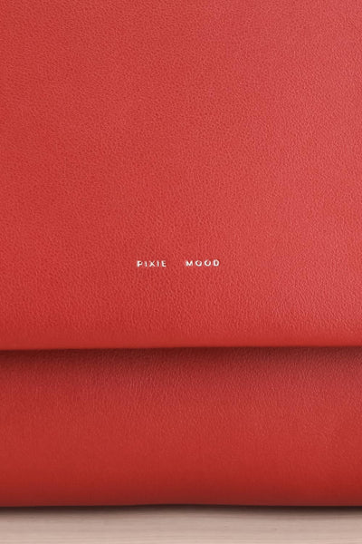 Jodith Red Faux-Leather Pixie Mood Handbag front close-up | La Petite Garçonne