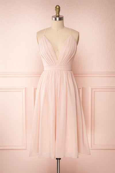 Joelle Blush Chiffon Cocktail Dress | Robe | Boutique 1861 front view