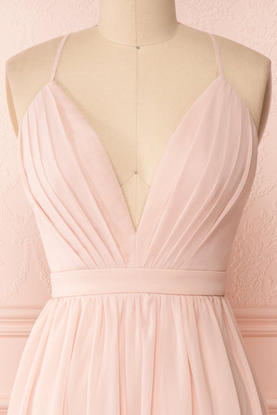 Joelle Blush Chiffon Cocktail Dress | Robe | Boutique 1861 front close-up