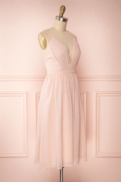 Joelle Blush Chiffon Cocktail Dress | Robe | Boutique 1861 side view