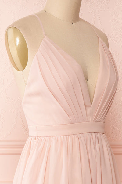 Joelle Blush Chiffon Cocktail Dress | Robe | Boutique 1861 side close-up