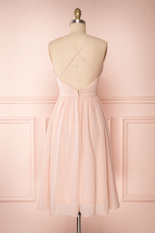 Joelle Blush Chiffon Cocktail Dress | Robe | Boutique 1861 back view