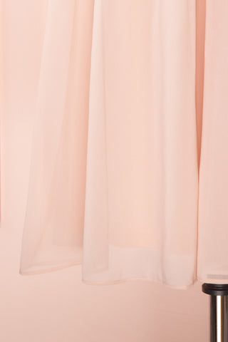 Joelle Blush Chiffon Cocktail Dress | Robe | Boutique 1861 bottom close-up