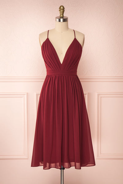Joelle Burgundy Chiffon Cocktail Dress | Robe | Boutique 1861 front view