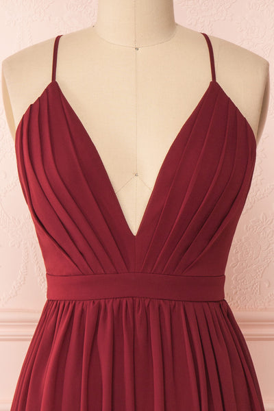 Joelle Burgundy Chiffon Cocktail Dress | Robe | Boutique 1861 front close-up