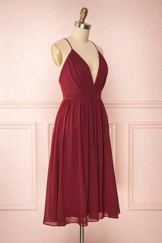 Joelle Burgundy Chiffon Cocktail Dress | Robe | Boutique 1861 side view