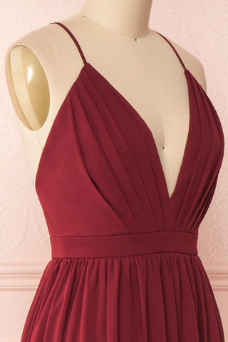 Joelle Burgundy Chiffon Cocktail Dress | Robe | Boutique 1861 side close-up