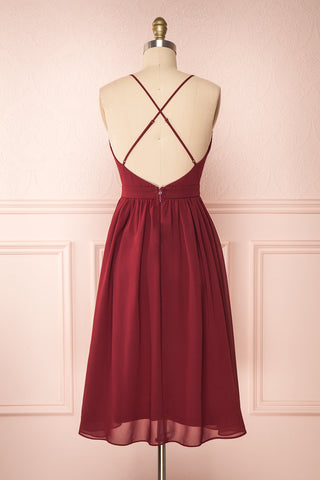 Joelle Burgundy Chiffon Cocktail Dress | Robe | Boutique 1861 back view