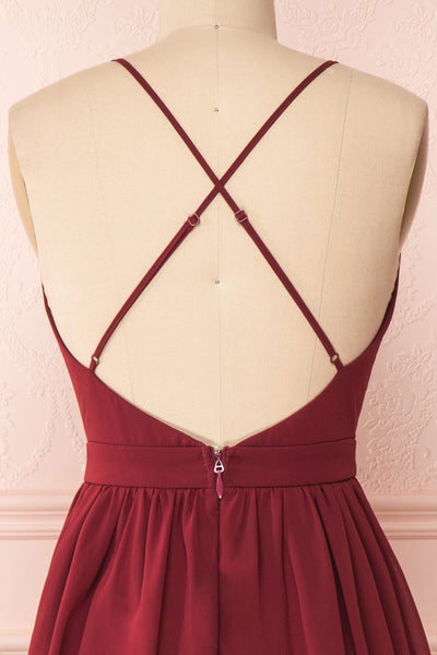Joelle Burgundy Chiffon Cocktail Dress | Robe | Boutique 1861 back close-up