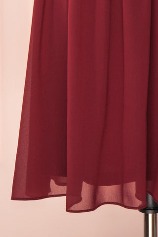 Joelle Burgundy Chiffon Cocktail Dress | Robe | Boutique 1861 bottom close-up