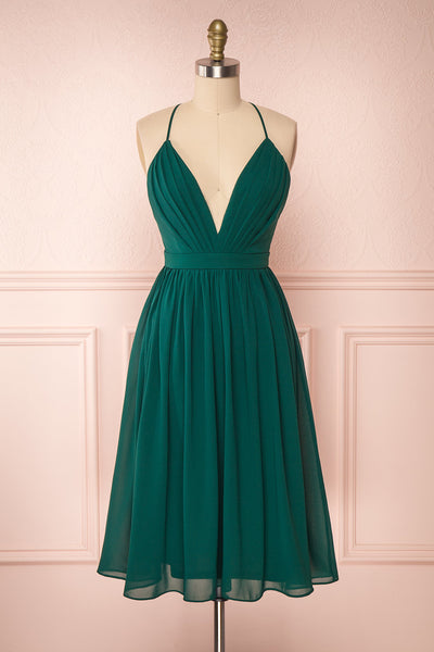 Joelle Emerald Chiffon Cocktail Dress | Robe | Boutique 1861 front view