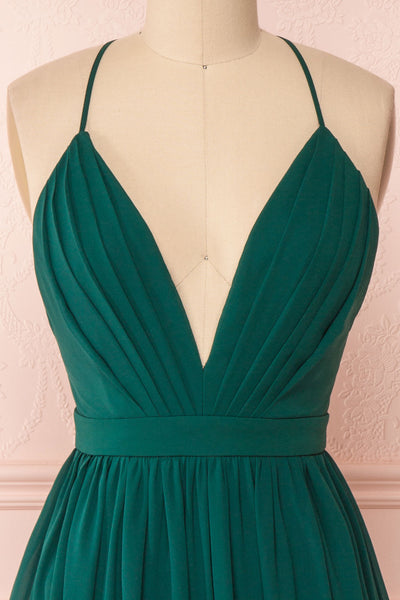 Joelle Emerald Chiffon Cocktail Dress | Robe | Boutique 1861 front close-up